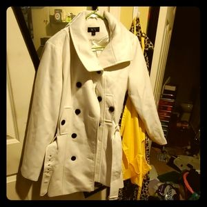 BCX White Pea Coat with Belted Buckle